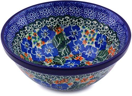 Polish Pottery Bowl 5-inch made by Ceramika Artystyczna (Blue Star Flowers Theme) Signature UNIKAT Polish Cereal