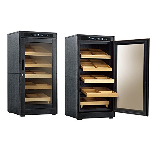 - Prestige Import Group - The Redford Lite Cigar Cabinet Humidor - Capacity: 1250 - Color: Black Oak Finish