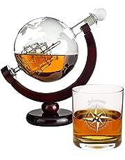 Karafka do whisky – design globusa: zestaw prezentowy z butelki do whisky w kształcie kuli ziemskiej i wysokiej jakości szklanki do whisky z wygrawerowanym imieniem – dekanter ze szkła z żaglówką