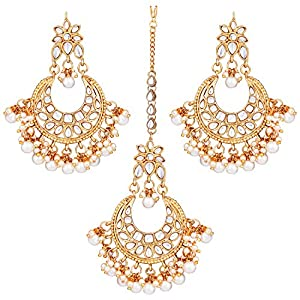 Aheli Beautiful Wedding Ethnic Wear Kundan Pearl Maang Tikka Earrings Set Indian Traditional Bollywood Jewelry for Women