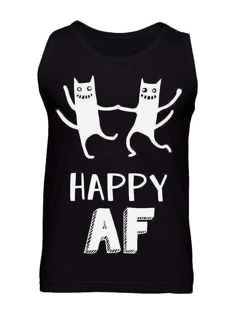 Happy AF Crazy Dancing Cats Design Mens Tank Top