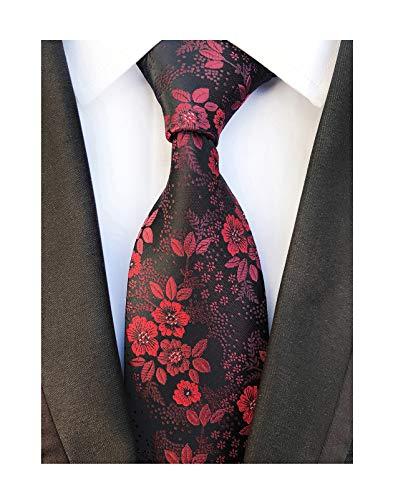 Men's Burgundy Red Black Jacquard Woven Silk Clip on Tie Business Formal Necktie
