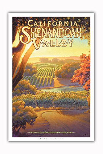 Pacifica Island Art - California Shenandoah Valley Wineries - Sierra Foothills AVA Vineyards - California Wine Country Art by Kerne Erickson - Master Art Print - 12in x 18in