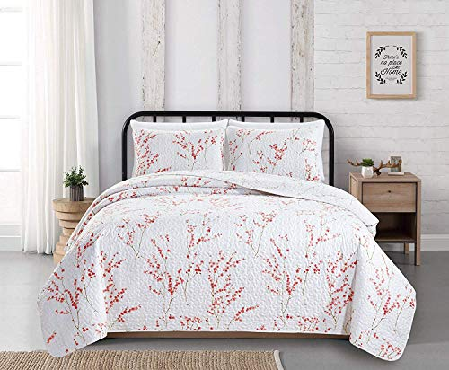 Great Bay Home Sakura Collection 3 Piece Quilt Set with Shams. Reversible Floral Bedspread Coverlet. Machine Washable. (King, Cherry Blossoms)