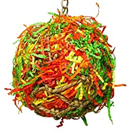 Bonka Bird Toys 1891 Lg Calypso Super Shredder Ball Bird Toy cages birds foraging parrot amazon