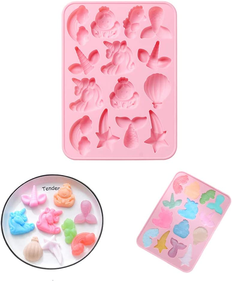 Silicone Gummy Candy Molds Animal Starfishs,Dolphins,Octopus, Sharks,Stars,Hot Air Balloon Chocolate Molds Nonstick Food Grade Silicone for Pudding Brownie Cheesecake Candy Jelly Resin (Pink)