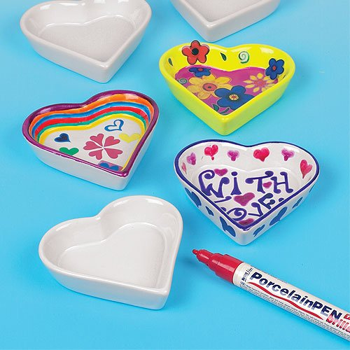 Mini Heart Shaped Porcelain Dishes for Kids to Paint