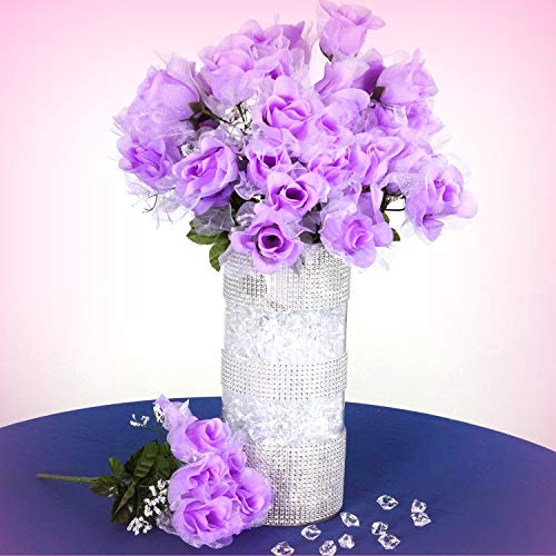 Inna-Wholesale Art Crafts New 84 Lavender Organza Petals Silk Rose Buds Decorating Flowers Bouquets Centerpieces - Perfect for Any Wedding, Special Occasion or Home Office - Flower Wedding Organza Rose