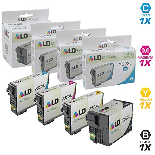 LD Products Remanufactured Ink Cartridge Replacement for Epson 252 ( Black,Cyan,Magenta,Yellow , 4-Pack )