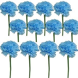 Lily Garden 12 Stems Artificial Carnation Flower Silk Bouquet (Blue) 84