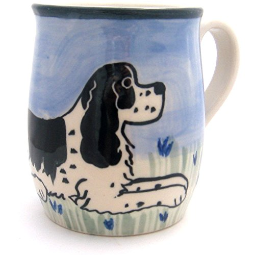 Karen Donleavy Designs Deluxe BLACK and WHITE Cocker Spaniel Mug