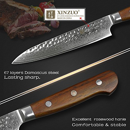 XINZUO Cutlery 6 inch Utility Knife Japanese VG-10 Damascus Steel Kitchen Knife Fruit Knife Peeling Razor Sharp Hammered Finish with Rosewood Handle - Yun Series by XINZUO (Image #2)
