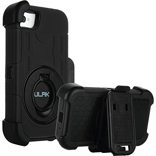 iPhone 4S Case,iPhone 4 Case,ULAK KNOX ARMOR Heavy Duty Anti Slip Rugged Hybrid Rubber Shockproof Protection Hard Shell Case for iPhone 4 & iPhone 4S with Belt Clip Holster Kickstand (Black) (Iphone 4 Case With Clip compare prices)
