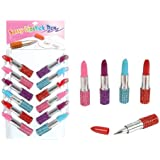 12 Pc Assorted Bling Rhinestone Lipstick Pens. Great For Girls Party Favors.