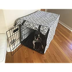 528 Zone Gray & White Stained Glass Print Grey Dog Pet Wire Kennel Crate Cage House Cover (Small, Medium, Large, XL, XXL) (LARGE 36x24x27)