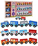 Wooden Train Set with Box and Cover (12 Set) Toys for Kids