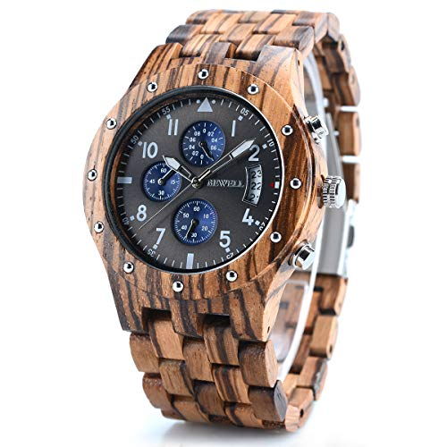BEWELL Wood Watches for Men, Date Display Chronograph Quartz Wrist Watch, Brown Zebra Wood
