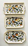 Made In Italy | Peacock And Figs Of Soft Blue, Yellow, Green on White Ceramic Plate | 3 Different Shapes (Rectangle With Handles | 12 x 6 inches)