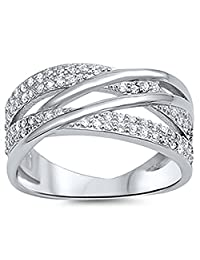 Sterling Silver .925 Cubic Zirconia CZ Women's Overlap Fashion Ring Band Cocktail Ring Pave Set 5-9