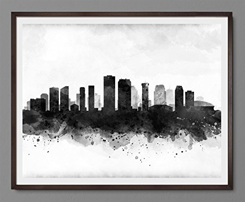 New Orleans Cityscape – louisiana Skyline Watercolor Art Print Poster – Black and White