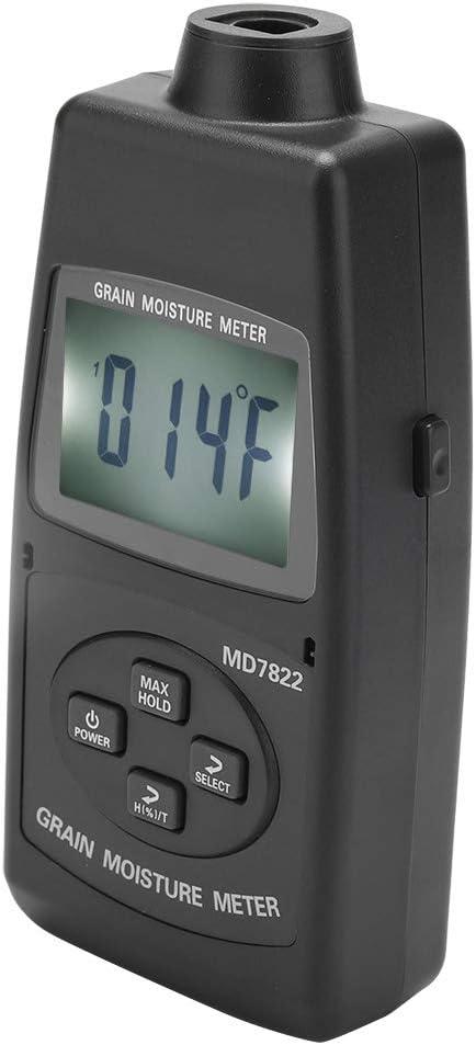 MD7822 /Écran LCD num/érique Outil de mesure de testeur de m/ètre dhumidit/é de grain pour le ma/ïs de bl/é Thermom/ètre ext/érieur dint/érieur Testeu Testeur de m/ètre dhumidit/é de grain