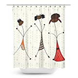 Custom Waterproof Bathroom African American Woman/ Girls Shower Curtain Polyester Fabric Bathroom Accessory Standard Size 70x70 inch (Brown Girls) with Arrow design