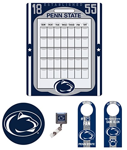"""Penn State Nittany Lions Dorm Pack of Two Sided Door Hanger, 16"""" x 20"""" Peel And Stick Calendar, Peel and stick Mouse Pad, and Retractable Badge Holder"""