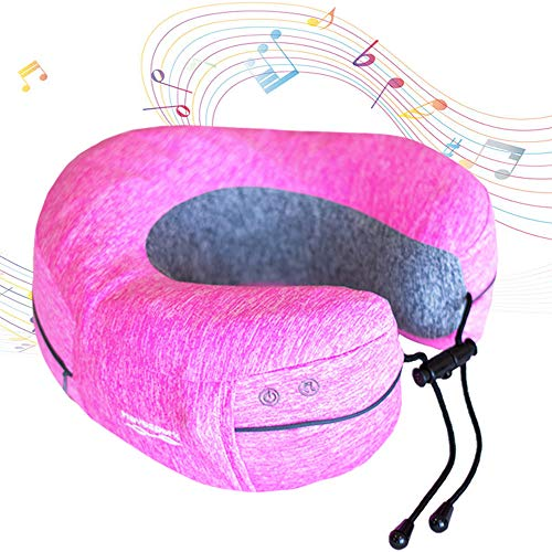 Havospark Neck Pillow with Massage for Travel - Wireless Music Pairing, Massager and Waterproof - Contoured U Shaped Head Support for Airplane Traveling, Spa, Bath, Pool, Beach - for Adults and Kids