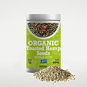 Organic NATERA Toasted Hemp Seeds Hearts (1lbs) Best Protein, Fibre and Mineral Source