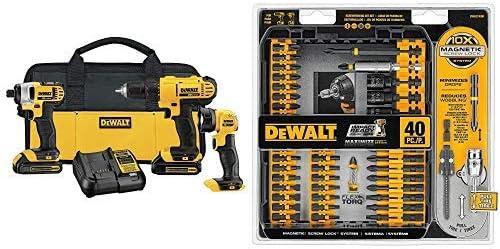 DEWALT DCK340C2 20V Max 3-Tool Combo Kit with DEWALT DWA2T40IR IMPACT READY FlexTorq Screw Driving Set, 40-Piece