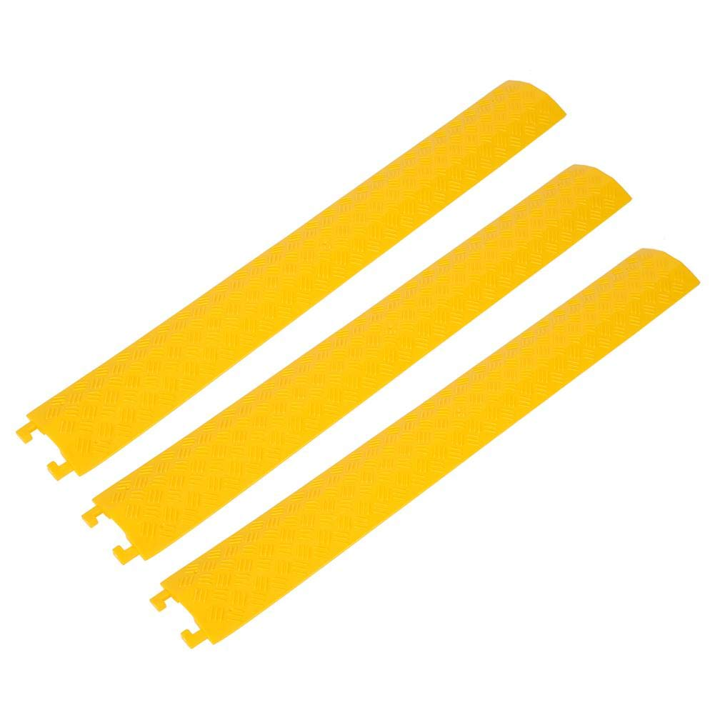 3 Pcs Speed Bump, Single Channel Driveway Speed Bumps Modular Heavy Duty Cable Protector Ramp for Garage Gravel Roads Asphalt Concrete, 37.4x5.2''(Yellow)