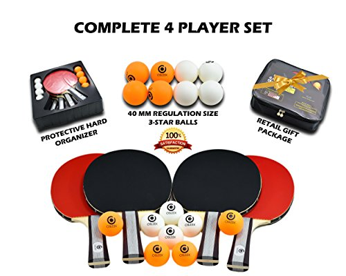 Osleek Ping Pong Paddle Set - 4 Rackets 8 Balls Professional/Recreational Table Tennis Bundle | Durable 5 Layer Blade, Performance Rubber for Control, Spin & Speed | Packed in Protective Travel Case by Osleek (Image #4)