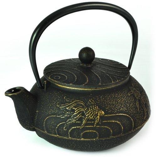Japanese Tetsubin Cast Iron Teapot Gold Fish Design - Iwachu 650ml by Zen Minded by Iwachu