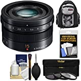 Panasonic Lumix G 15mm f/1.7 Leica DG Summilux Lens with 3 UV/CPL/ND8 Filters + Backpack + Kit for G5, G6, GF5, GF6, GH3, GH4, GM1, GX7 Cameras