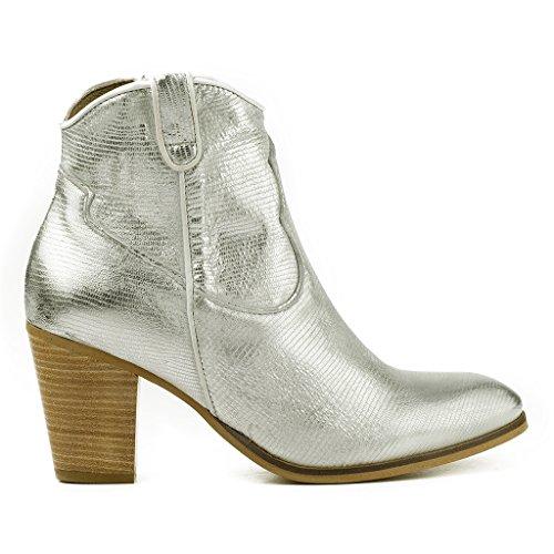 Stiefel Blockabsatz Stiefeletten Booties Leder Silber Silber 30805 01 Buffalo Damen ES Boots Ankle nvOw4Bwx