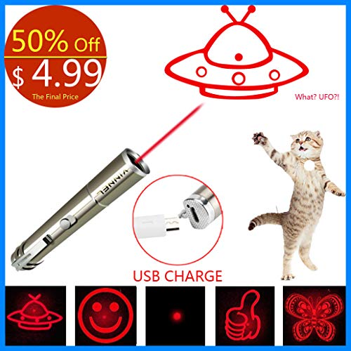 VINNEL Cat Laser Pointer, 6 in 1 Multi Function Funny Laser Pointer for Cats Interactive LED Light,Scratching Training Tool Red Pot Exercise Chaser Toy