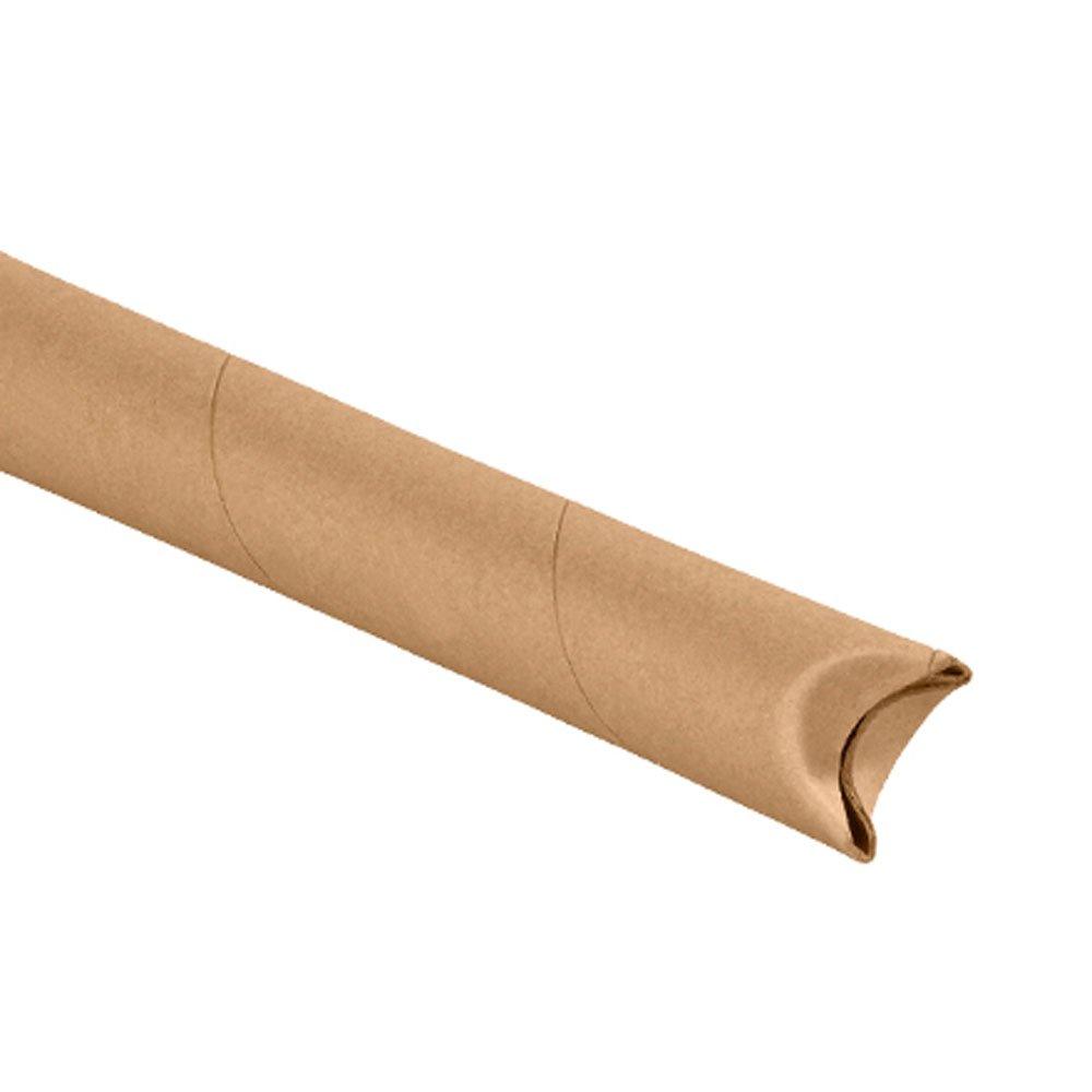 Aviditi S1512K Crimped End Mailing Tubes, 1-1/2'' x 12'', Kraft (Pack of 70)