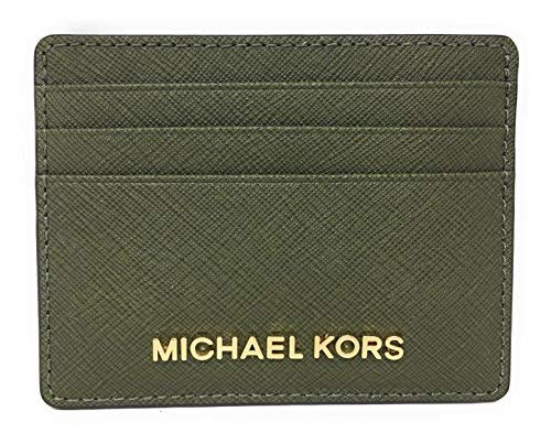 Michael Kors Jet Set Travel Large Saffiano Leather Card Holder (Olive) Designer Credit Card Holder