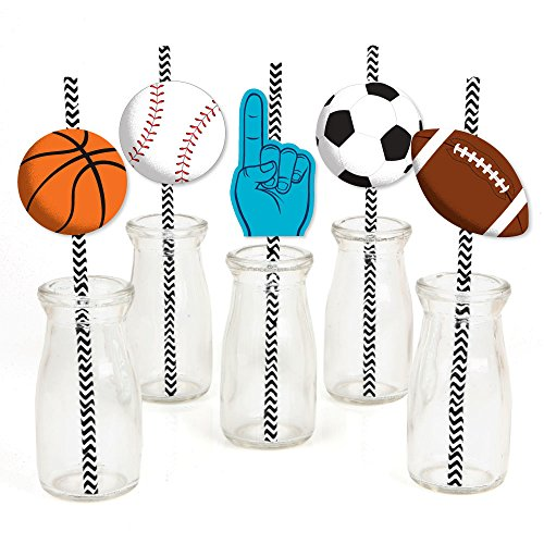 Go, Fight, Win - Sports - Paper Straw Decor - Baby Shower or Birthday Party Striped Decorative Straws - Set of 24 -
