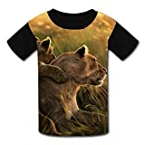 Cub Lion T-Shirt Short Sleeve Kids Tee Shirt Black Cartoon 2018 for Girls Boys Black