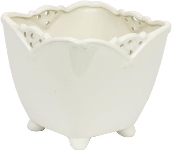Keramiktopf H 11 cm weiss Ornament Blumentopf mit F/ü/ßen shabby Topf