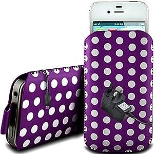 Online-Gadgets UK - Bold 9790 protector PU cremallera diseño Polka de cuero antideslizante cuerda del tirón BlackBerry en bolsa de la caja con cierre rápido y CE cargador de red - Purple