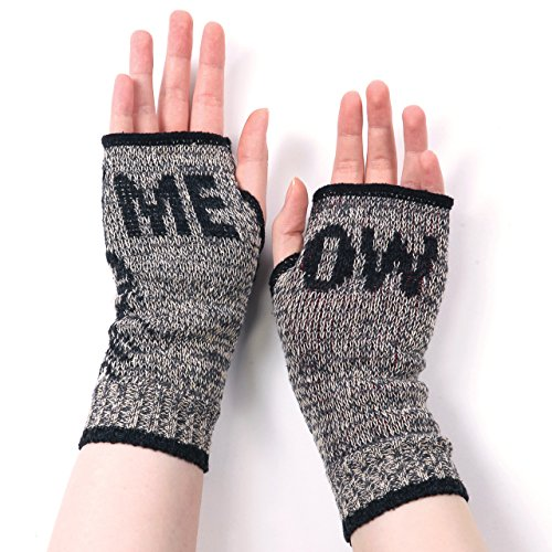 Kitty Cat Fingerless Gloves (Meow) - Heather Brown