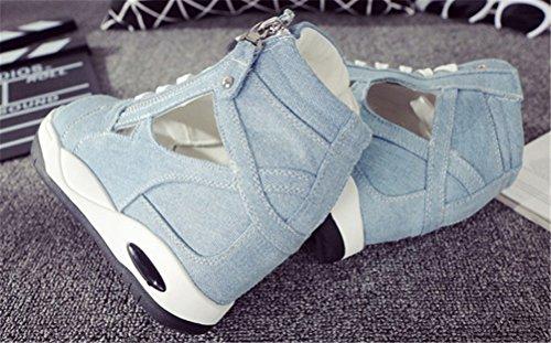 Ace Chock Jeans Kilar Sandaler Kvinnor, Dold Häl Peep-toe Sommar Kanfasgymnastikskor 4 Färger Ljusblå