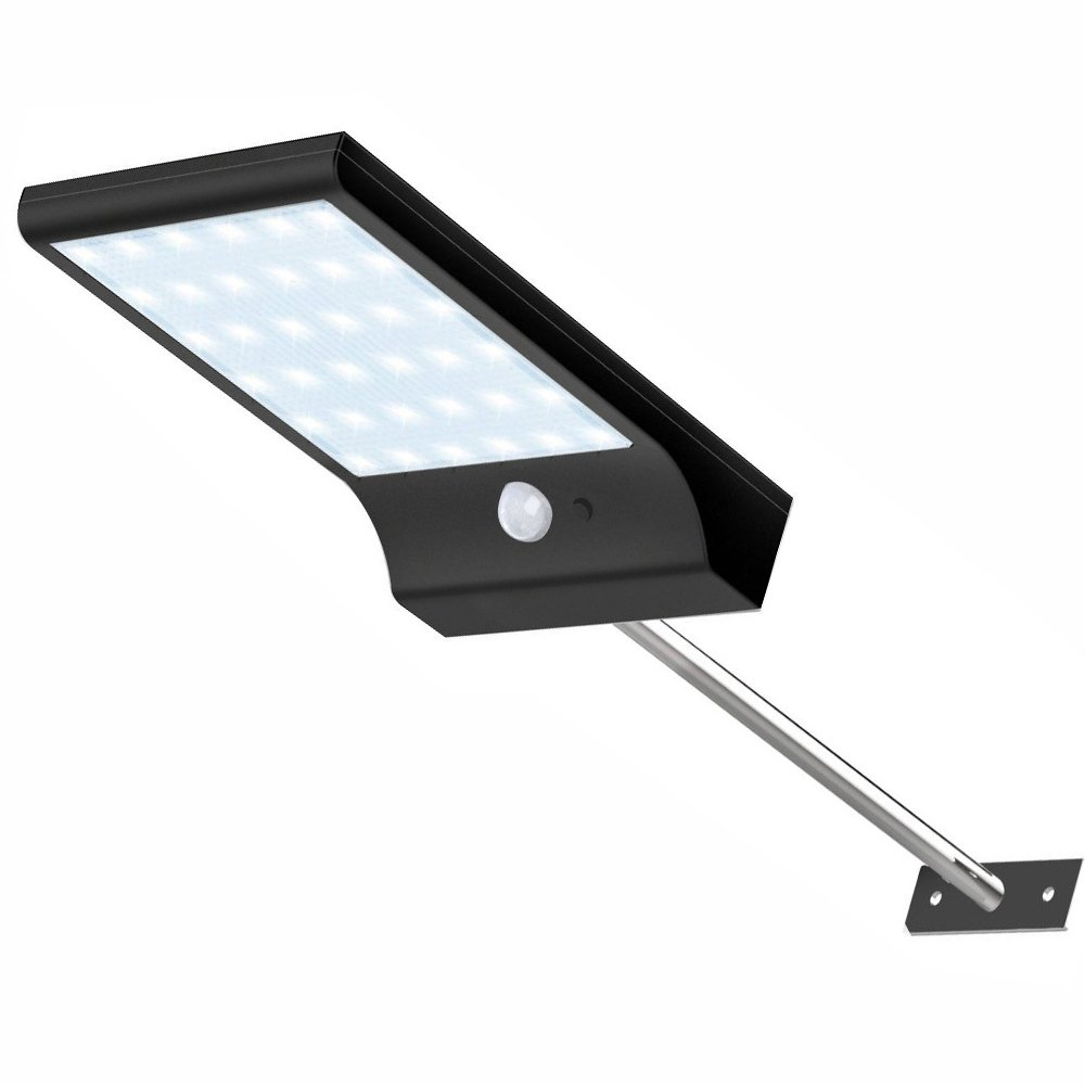 YESDA Solar Lights Outdoor, 36 LED Solar Lights with Mounting Pole Motion Lights Black Cover for Patio Barn Garage (Warm White)