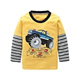 Boys Long Sleeve Cotton T-Shirts Monster Truck Shirt Graphic Tees Yellow 4T