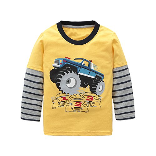 Monsters T Shirts (Boys Cotton Long Sleeve T-Shirts Monster Truck Cartoon Print Tops Tees Yellow 5T)
