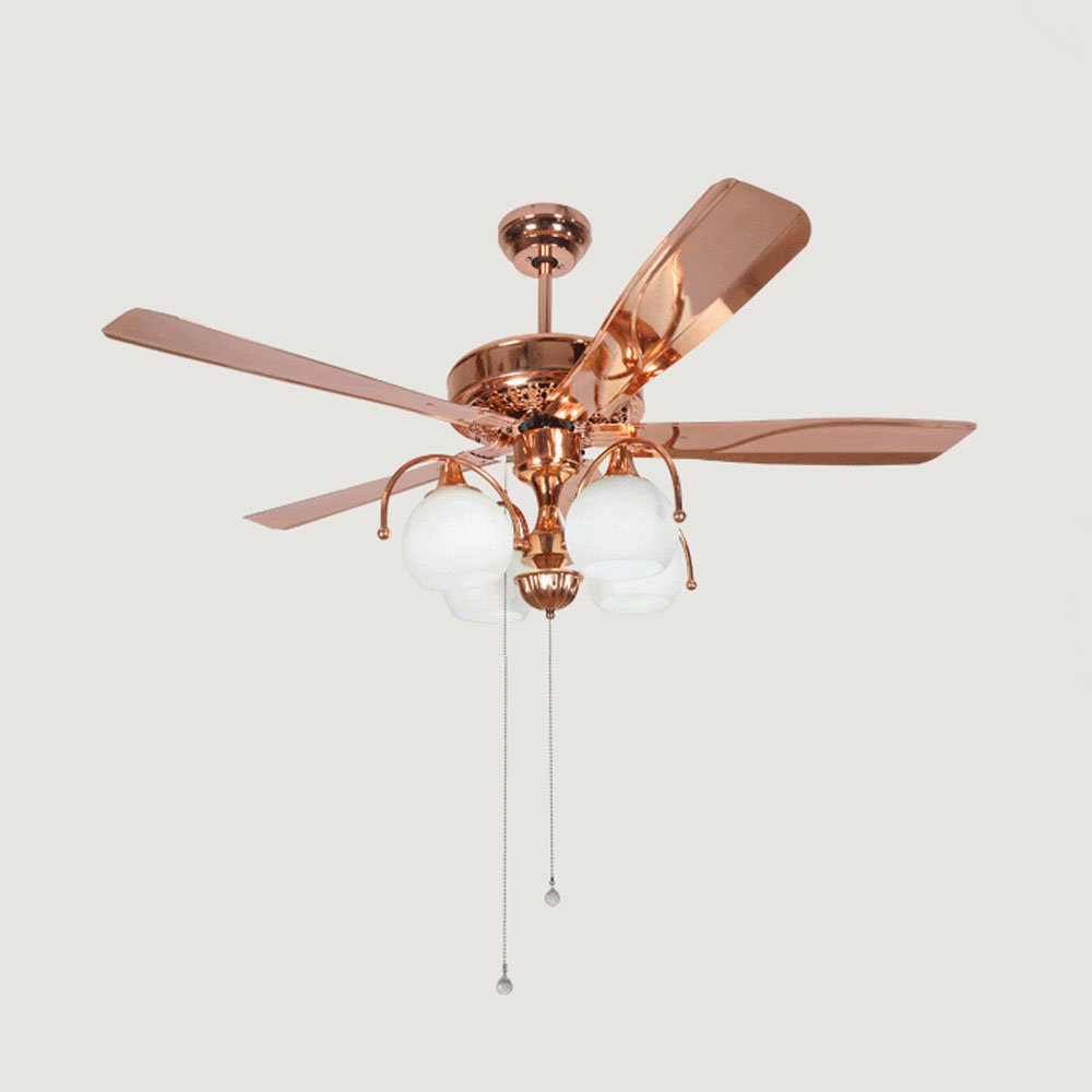 RainierLight Modern Rose Gold Ceiling Fan for Indoor Milk White Glass Lampshade Iron Blades 4 LED Light Home Decorative(48-Inch)