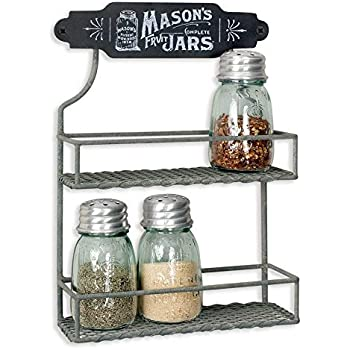 Amazon Com Wire Mason Jar Two Tier Hanging Spice Rack