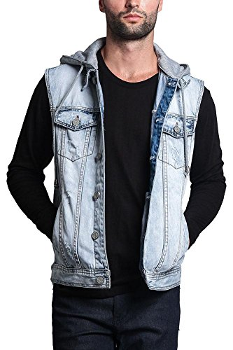 G-Style USA Detachable Hood Denim Vest DK108 - Distressed Ice - Small - GG1F by Victorious